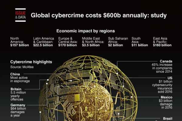 [Graphic News] Global cybercrime costs $600b annually: study