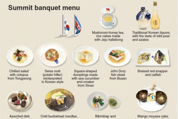 Summit banquet menu filled with symbolism