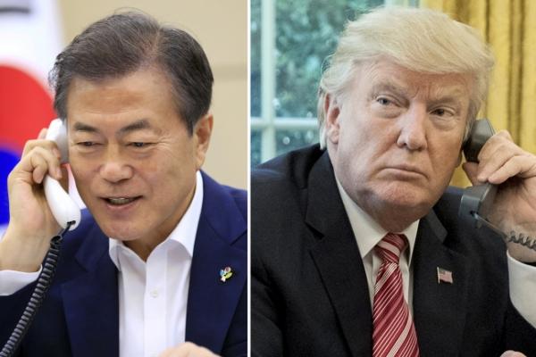 [US-NK Summit] US-NK summit success will be 'great gift' for Trump's birthday: Moon