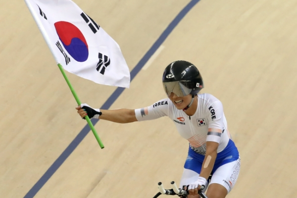 South Korea's Lee Ju-mi wins gold in track cycling