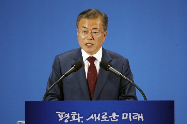 Moon calls for swift resumption of NK-US denuclearization talks