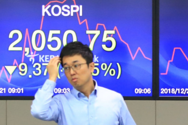 Seoul shares down for 2nd day on global growth woes
