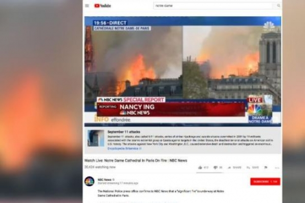 YouTube accidentally links Notre-Dame fire to 9/11 attacks