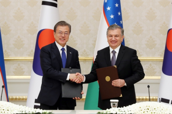 Leaders of S. Korea, Uzbekistan agree to upgrade ties, boost cooperation