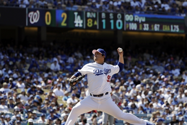 Dodgers' Ryu Hyun-jin earns 5th win vs. Nationals