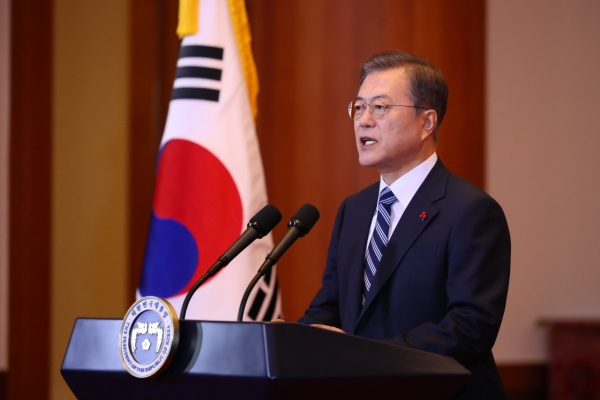 Moon calls for inter-Korean dialogue on cooperation
