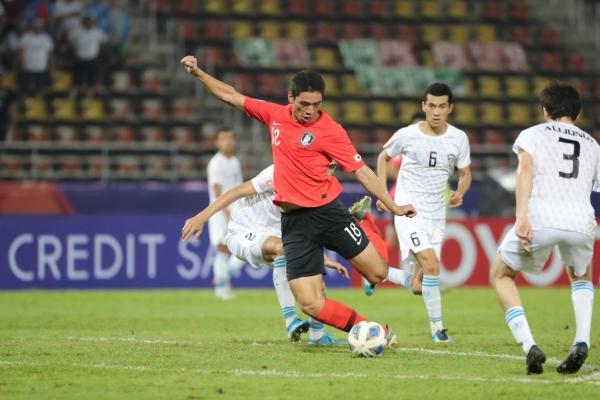 S. Korea beats Uzbekistan to win group at Olympic football qualifying tournament