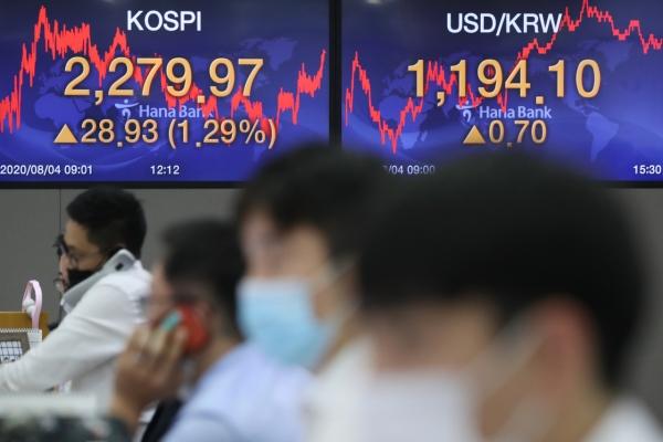 Seoul stocks almost hit 2-year high on economic rebound hopes