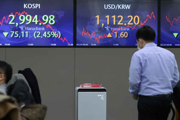 Seoul stocks dip more than 2% to nearly 1-month low on foreign selling binge