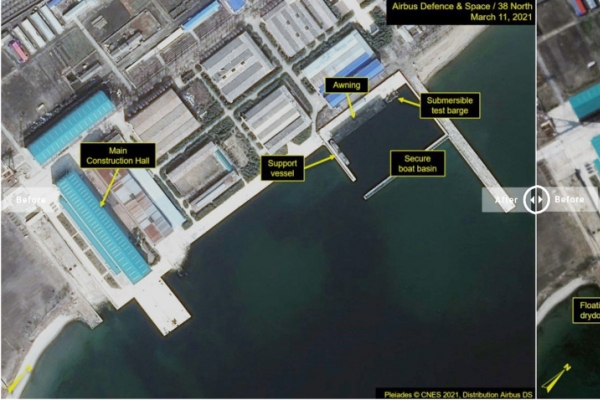 N. Korea may be modifying submersible missile test barge: 38 North