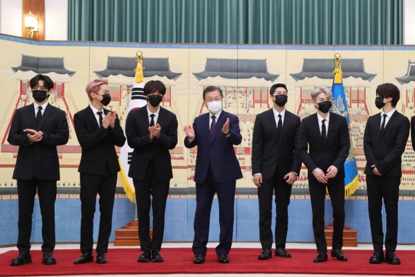 President Moon meets BTS, officially appoints them as special diplomatic envoy