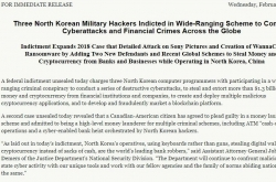US indicts 3 N. Korean hackers in attempted theft of $1.3b