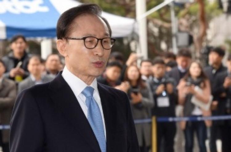 Ex-president Lee Myung-bak grilled on string of corruption allegations