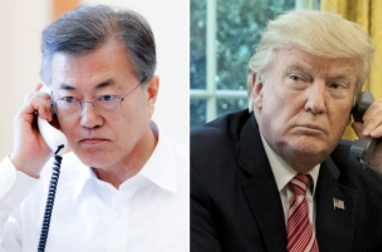 Moon, Trump seek close cooperation ahead of talks with NK