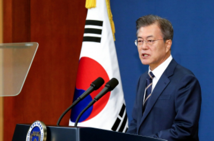 Moon reiterates NK leader has 'firm will' for denuclearization