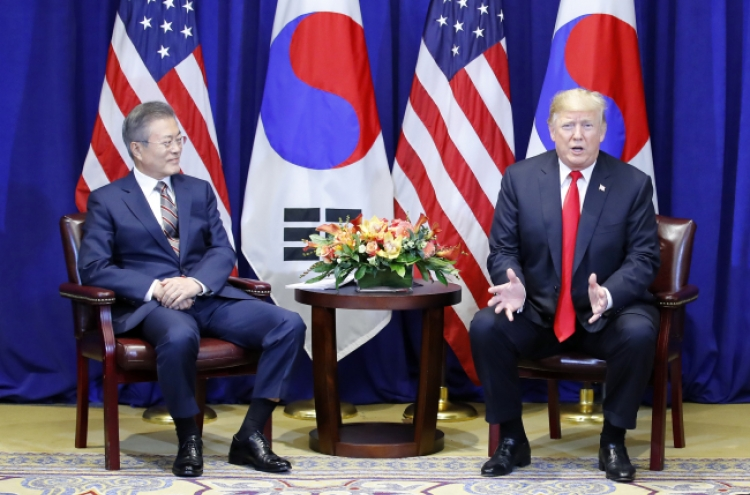 Moon, Trump discuss 'corresponding measures' for NK denucelarization