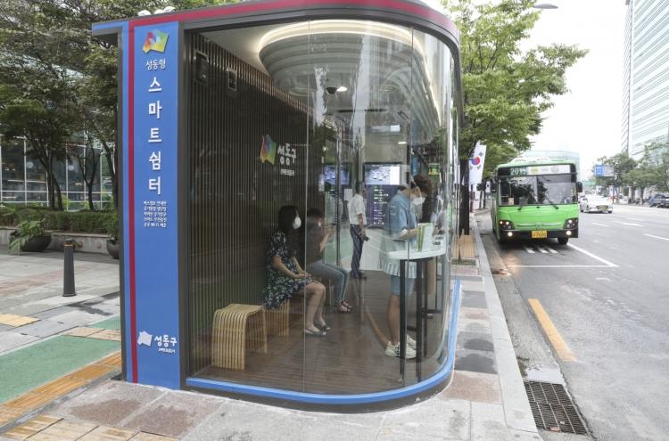 Seoul unveils virus-blocking bus shelter