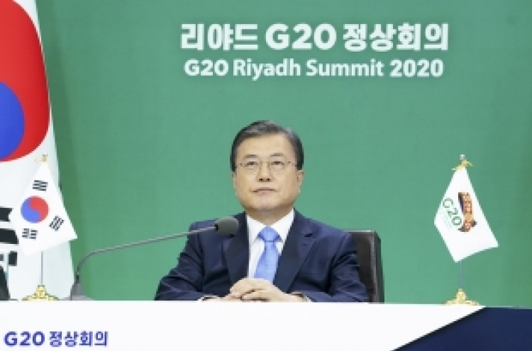 In virtual G20 summit, Moon urges int'l cooperation for pandemic response, economic recovery