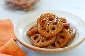 Yeongeun jorim (sweet soy braised lotus root)
