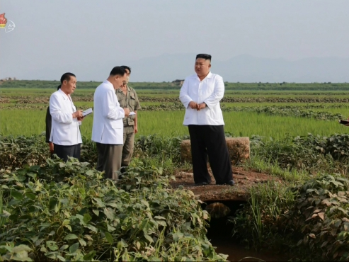 NK leader's reserve grain arrives at flood-hit village to help victims