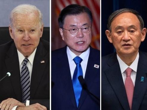 Moon meets Suga, Biden at G-7 summit