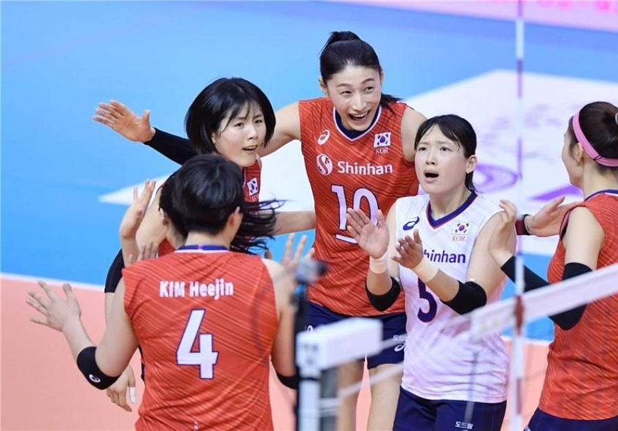 S. Korea defeats Kazakhstan to top group at Olympic women's volleyball qualifying tournament