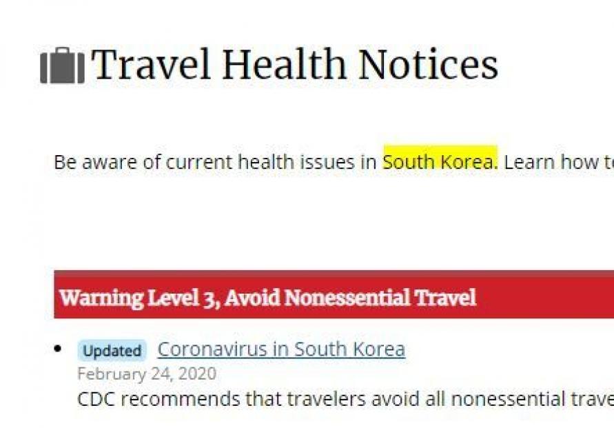 [Newsmaker] US CDC recommends avoiding nonessential travel to S. Korea over coronavirus