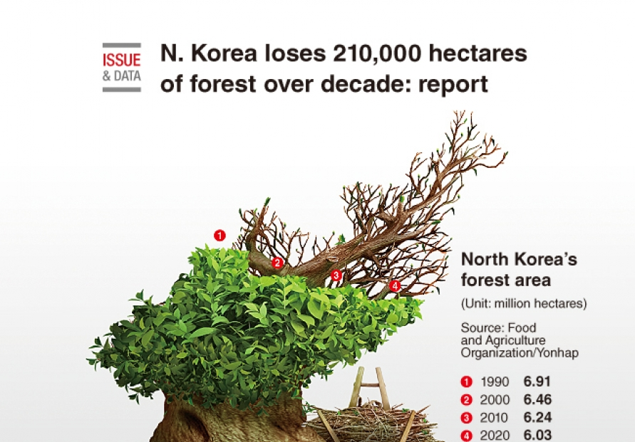 [Graphic News] N. Korea loses 210,000 hectares of forest over decade: report