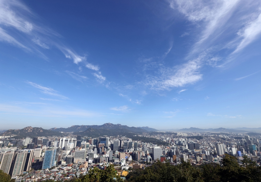Clear autumn sky of Seoul