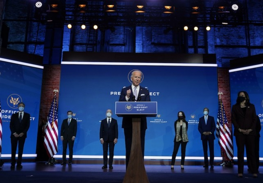 Biden introduces security team 'ready to lead the world'