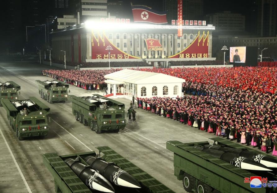 N. Korea holds military parade, showcases new SLBM