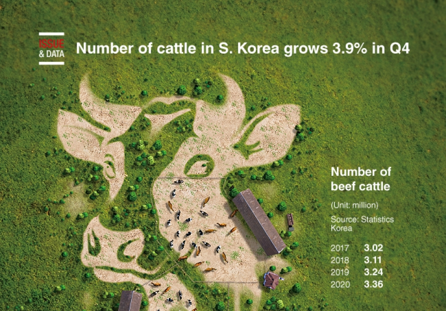 [Graphic News] Number of cattle in S. Korea grows 3.9% in Q4