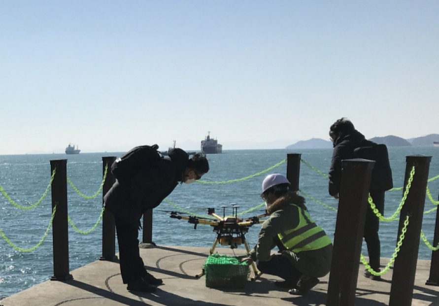 Drone delivery service kicks off to deliver items to ships near Busan Port