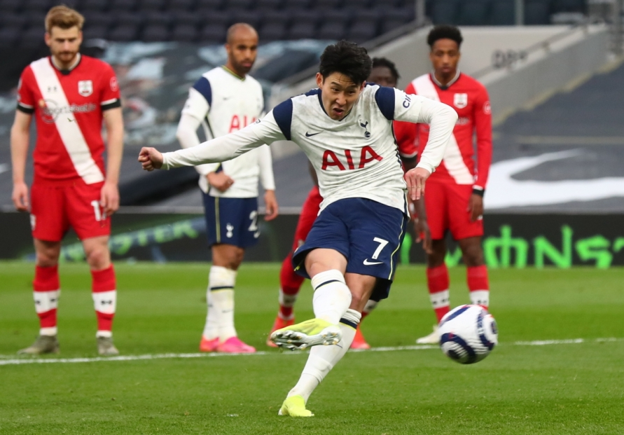 Son Heung-min's career-high 15th goal results in Tottenham's 2-1 victory over Southampton