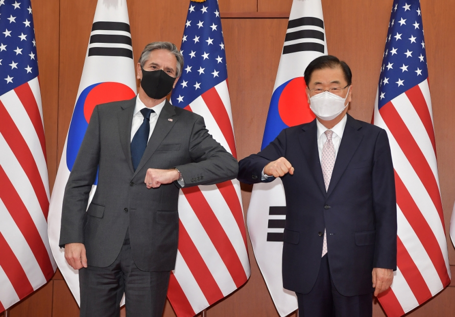 Top diplomats of S. Korea, US reaffirm peninsula denuke goal, cooperation on vaccines, Myanmar
