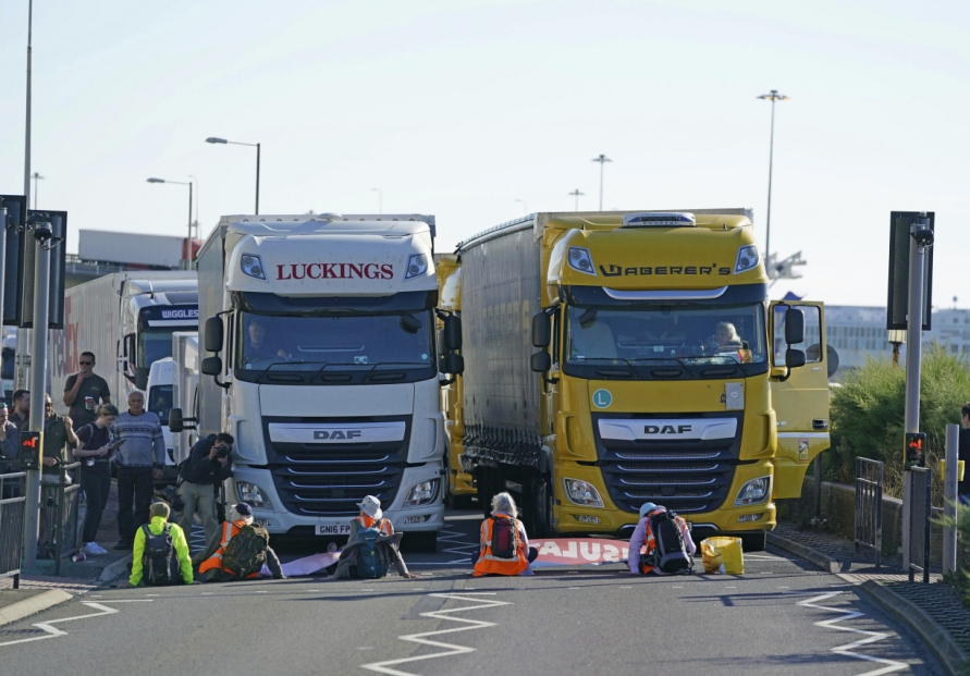 UK climate activists block entrance to Dover ferry port