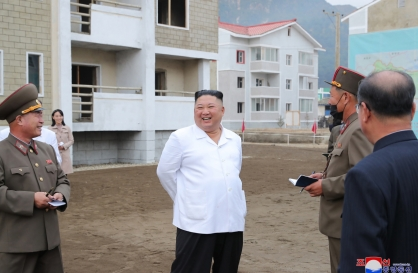 N.K. leader inspects flood recovery efforts together with sister