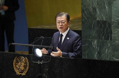 At UN, Moon reiterates push for declaration ending Korean War