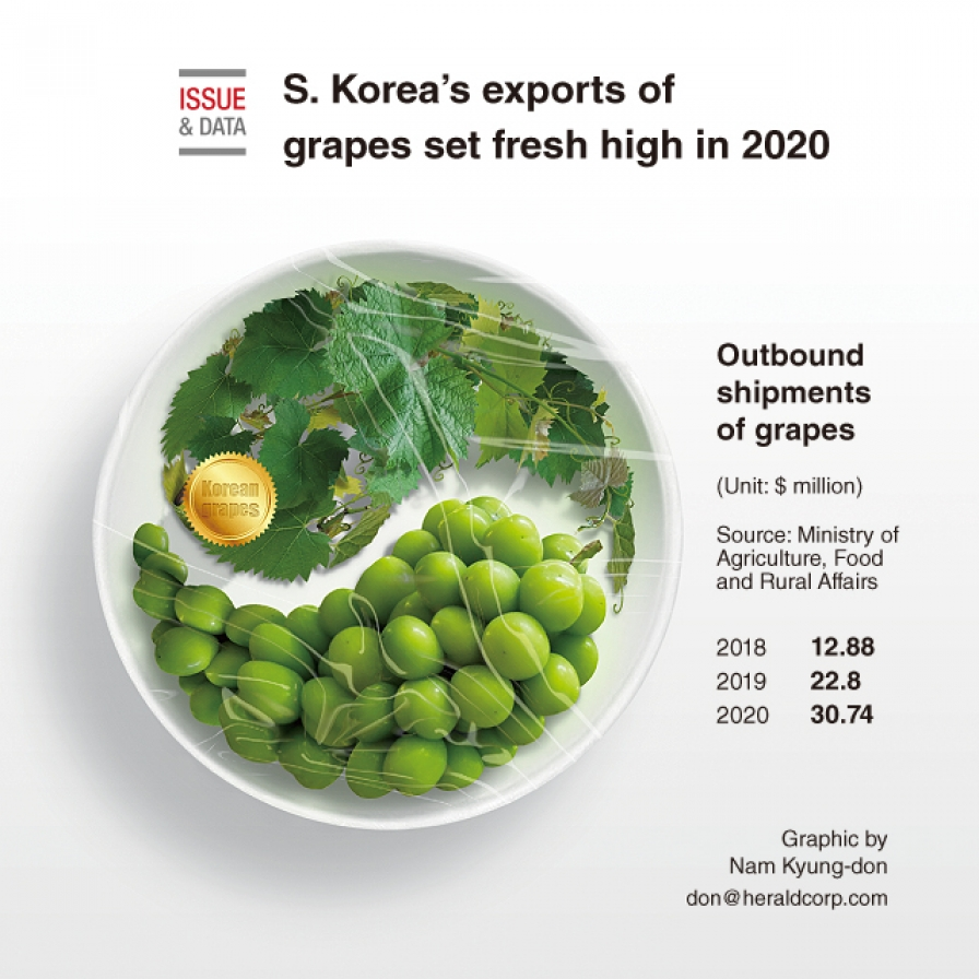 S. Korea's exports of grapes set fresh high in 2020