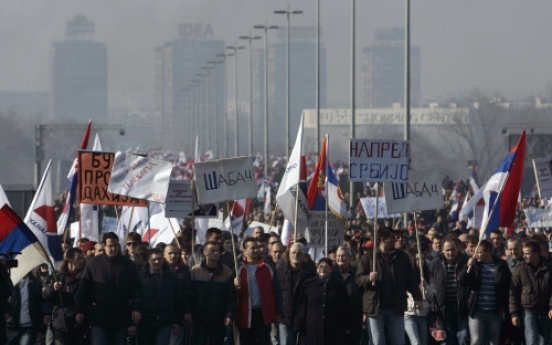 Tens of thousands gather in Serbian opposition protest