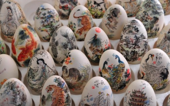 Egg painting exhibition in Wuhan, central China