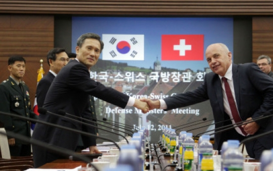 S. Korean, Swiss defense chiefs talk regional security