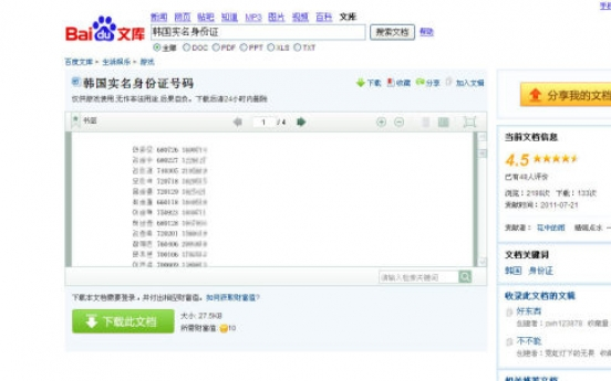 Korean national ID numbers spring up all over Chinese Web
