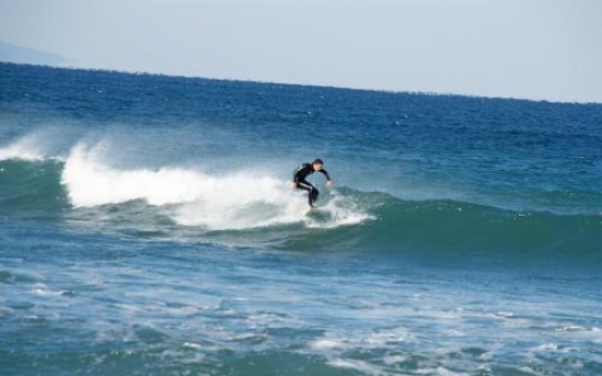 Catching winter's waves