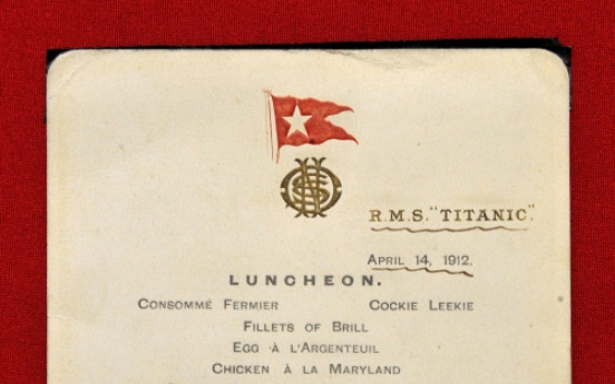 Menu from Titanic's last lunch sells at U.K. auction