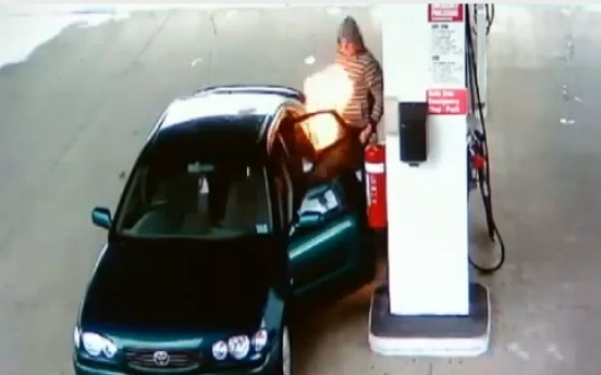 CCTV footage catches careless driver setting fire at gas pump