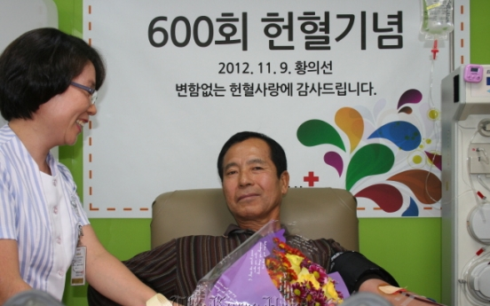 Ex-soldier donates blood 600 times