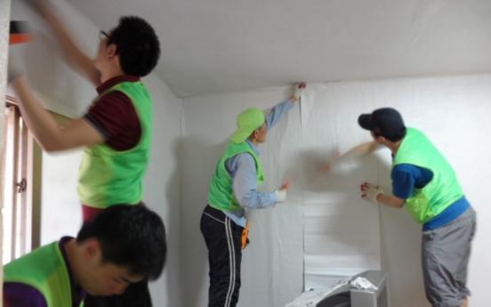 Wallpapering for needy households