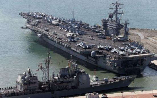 U.S. aircraft carrier Nimitz off Korea for drill