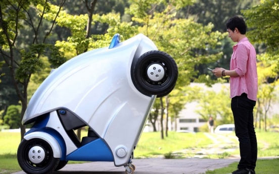 KAIST unveils foldable electric vehicle